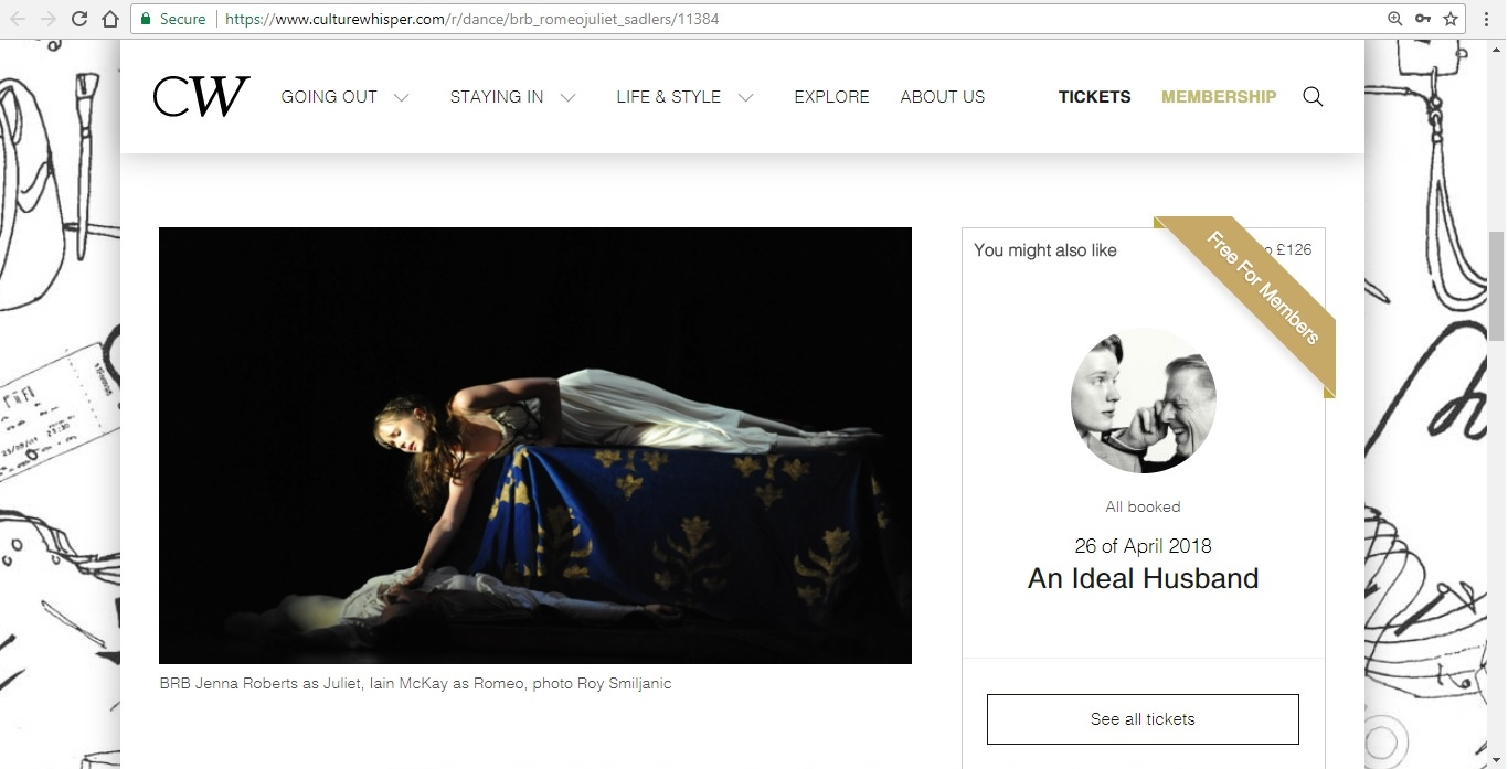 Screenshot of Culture Whisper content by Georgina Butler. Preview of Birmingham Royal Ballet: Romeo and Juliet, image 2