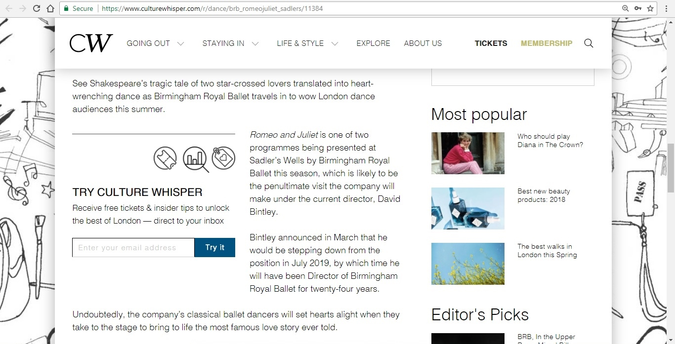 Screenshot of Culture Whisper content by Georgina Butler. Preview of Birmingham Royal Ballet: Romeo and Juliet, image 3
