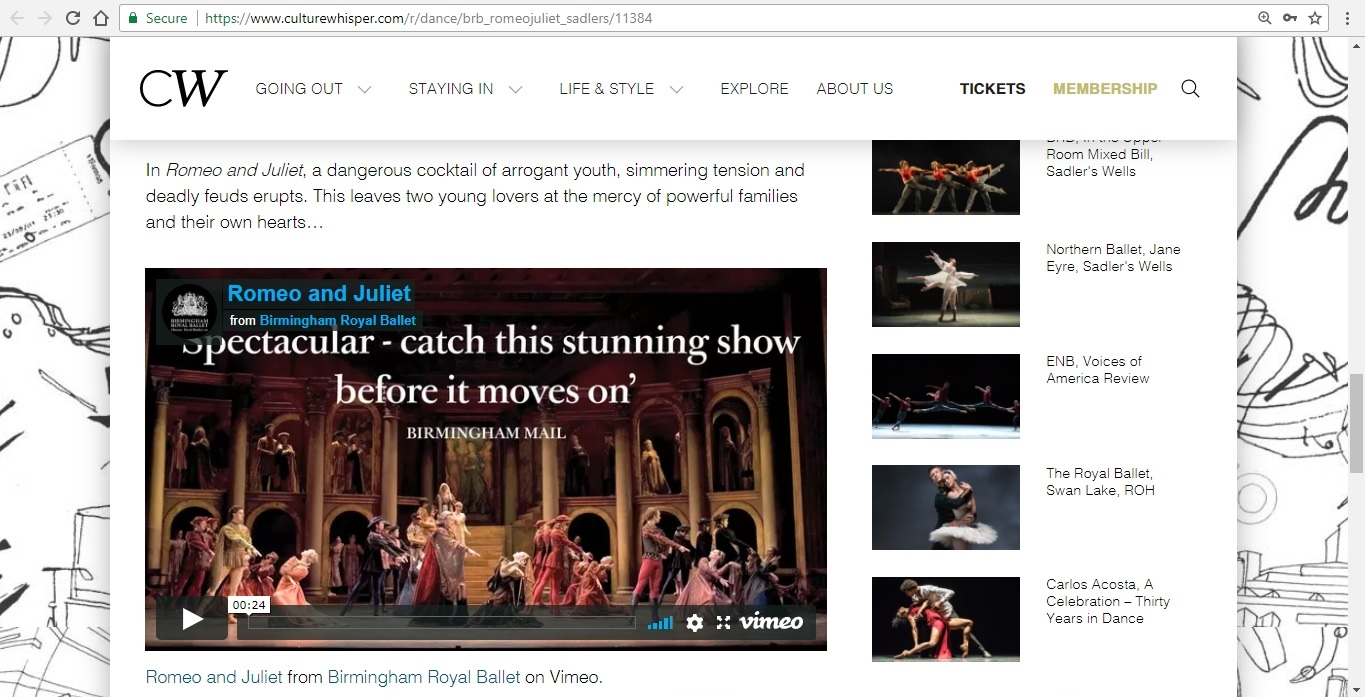 Screenshot of Culture Whisper content by Georgina Butler. Preview of Birmingham Royal Ballet: Romeo and Juliet, image 4