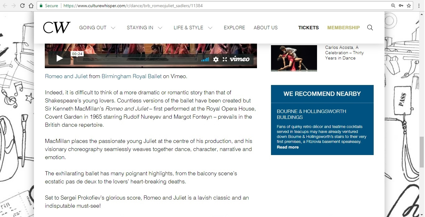 Screenshot of Culture Whisper content by Georgina Butler. Preview of Birmingham Royal Ballet: Romeo and Juliet, image 5