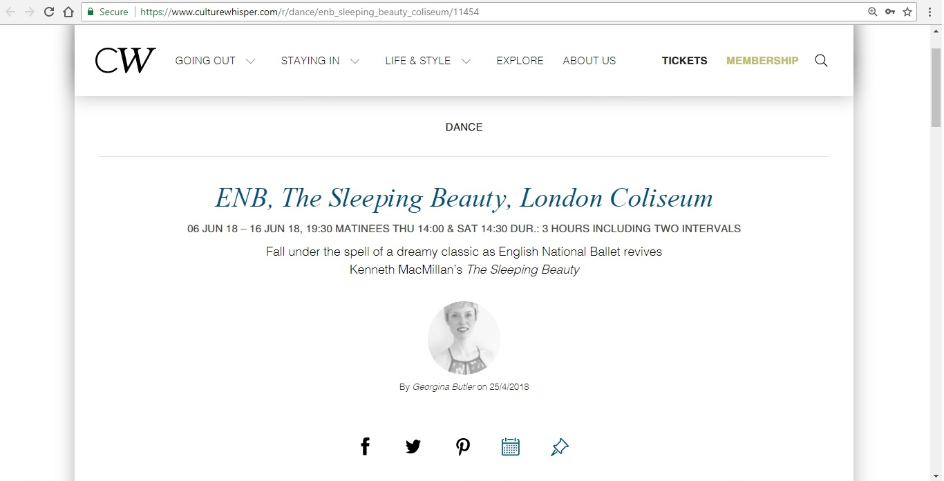 Screenshot of Culture Whisper content by Georgina Butler. Preview of English National Ballet: The Sleeping Beauty, image 1