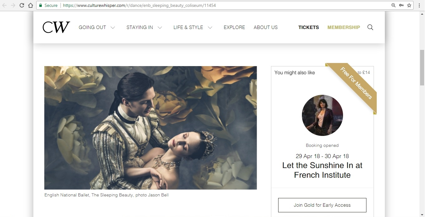 Screenshot of Culture Whisper content by Georgina Butler. Preview of English National Ballet: The Sleeping Beauty, image 2