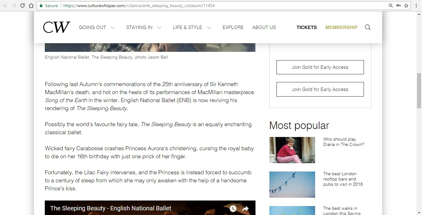 Screenshot of Culture Whisper content by Georgina Butler. Preview of English National Ballet: The Sleeping Beauty, image 3