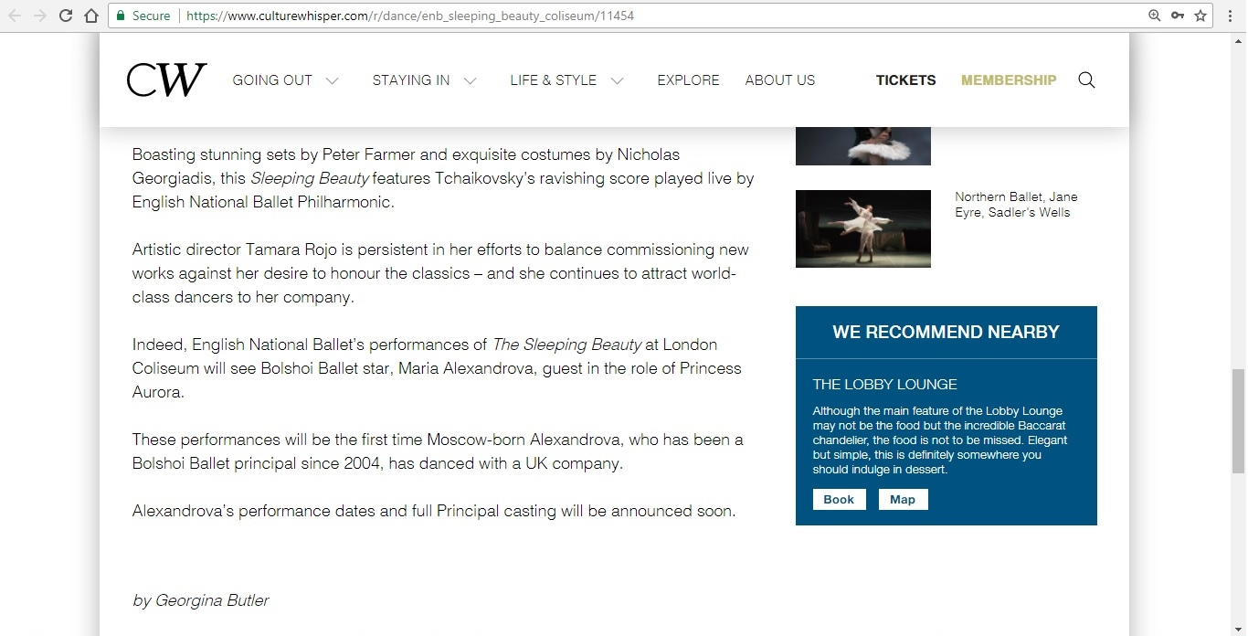 Screenshot of Culture Whisper content by Georgina Butler. Preview of English National Ballet: The Sleeping Beauty, image 5