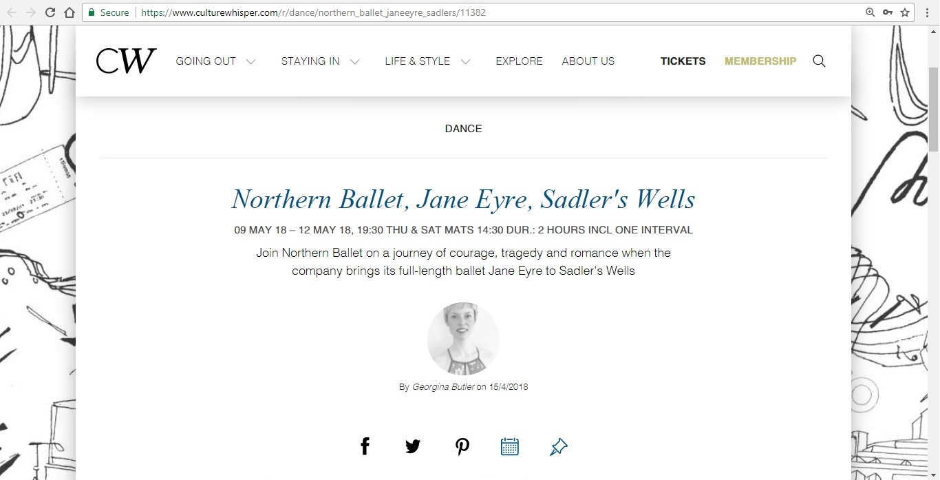 Screenshot of Culture Whisper content by Georgina Butler. Preview of Northern Ballet: Jayne Eyre, image 1