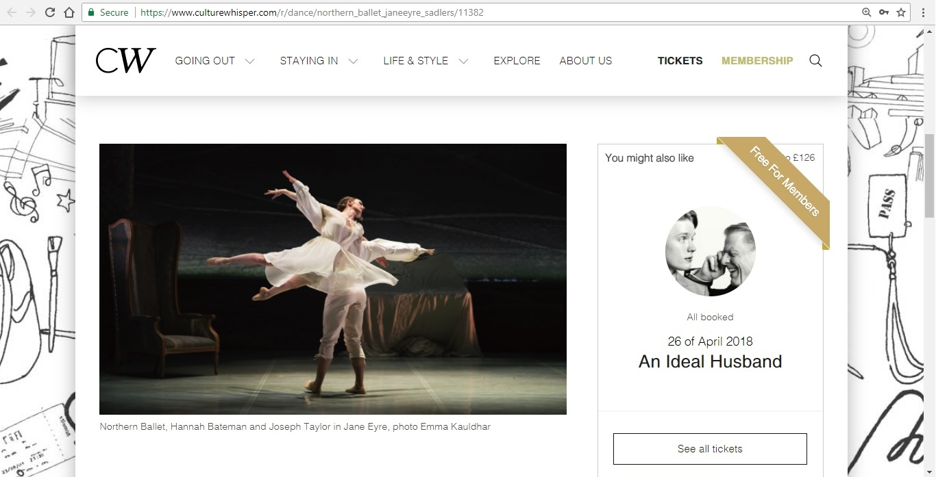 Screenshot of Culture Whisper content by Georgina Butler. Preview of Northern Ballet: Jayne Eyre, image 2