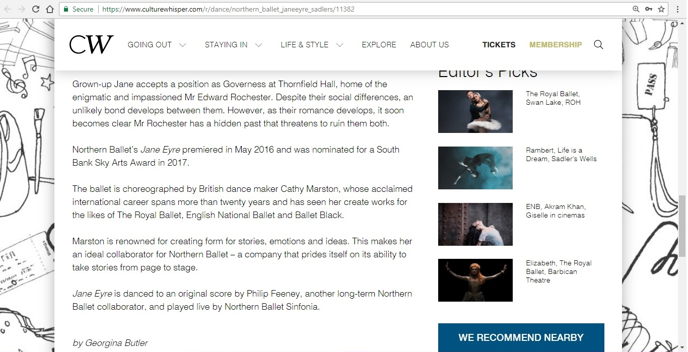 Screenshot of Culture Whisper content by Georgina Butler. Preview of Northern Ballet: Jayne Eyre, image 4