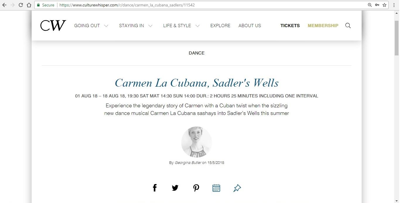 Screenshot of Culture Whisper content by Georgina Butler. Preview of Carmen La Cubana, image 1