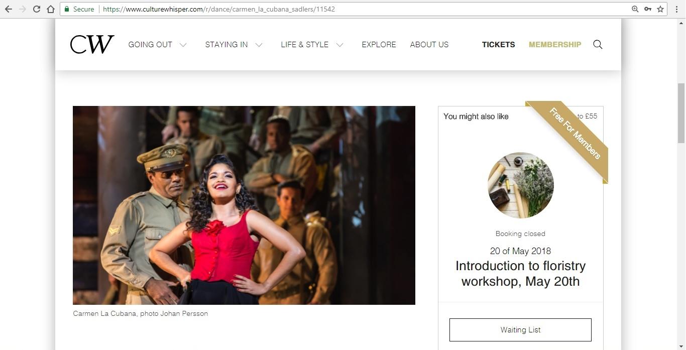 Screenshot of Culture Whisper content by Georgina Butler. Preview of Carmen La Cubana, image 2
