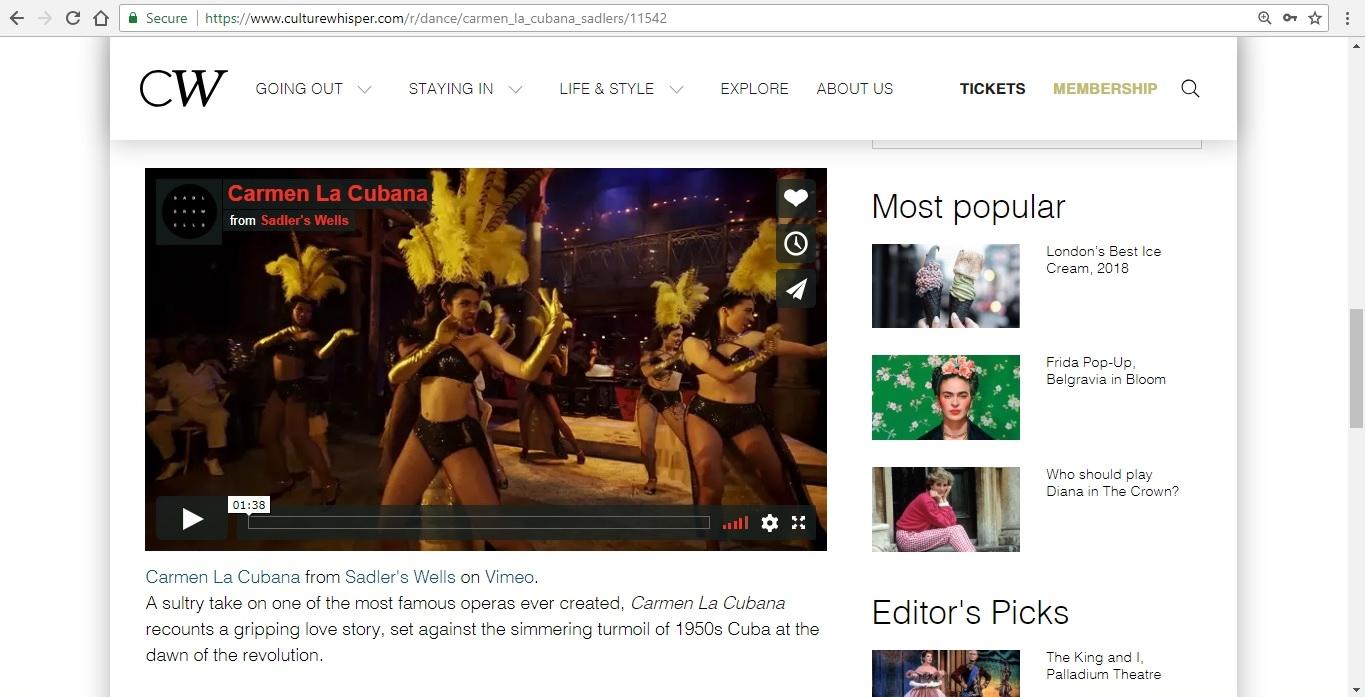 Screenshot of Culture Whisper content by Georgina Butler. Preview of Carmen La Cubana, image 4