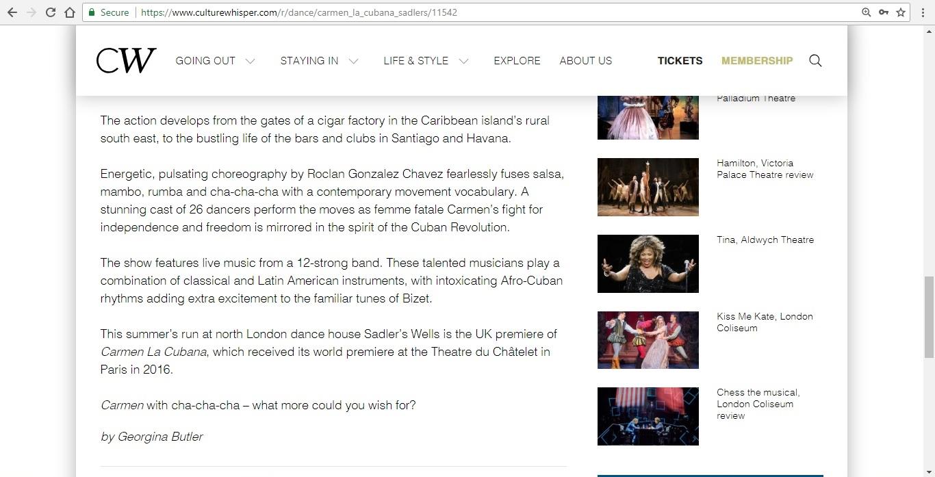 Screenshot of Culture Whisper content by Georgina Butler. Preview of Carmen La Cubana, image 5
