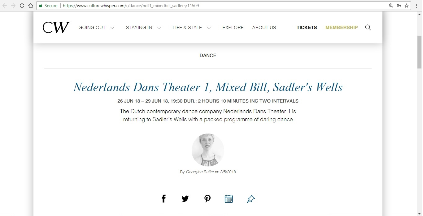 Screenshot of Culture Whisper content by Georgina Butler. Preview of Nederlands Dans Theater 1: Mixed Bill, image 1