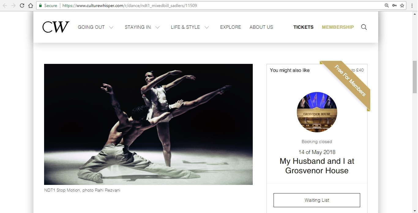 Screenshot of Culture Whisper content by Georgina Butler. Preview of Nederlands Dans Theater 1: Mixed Bill, image 2