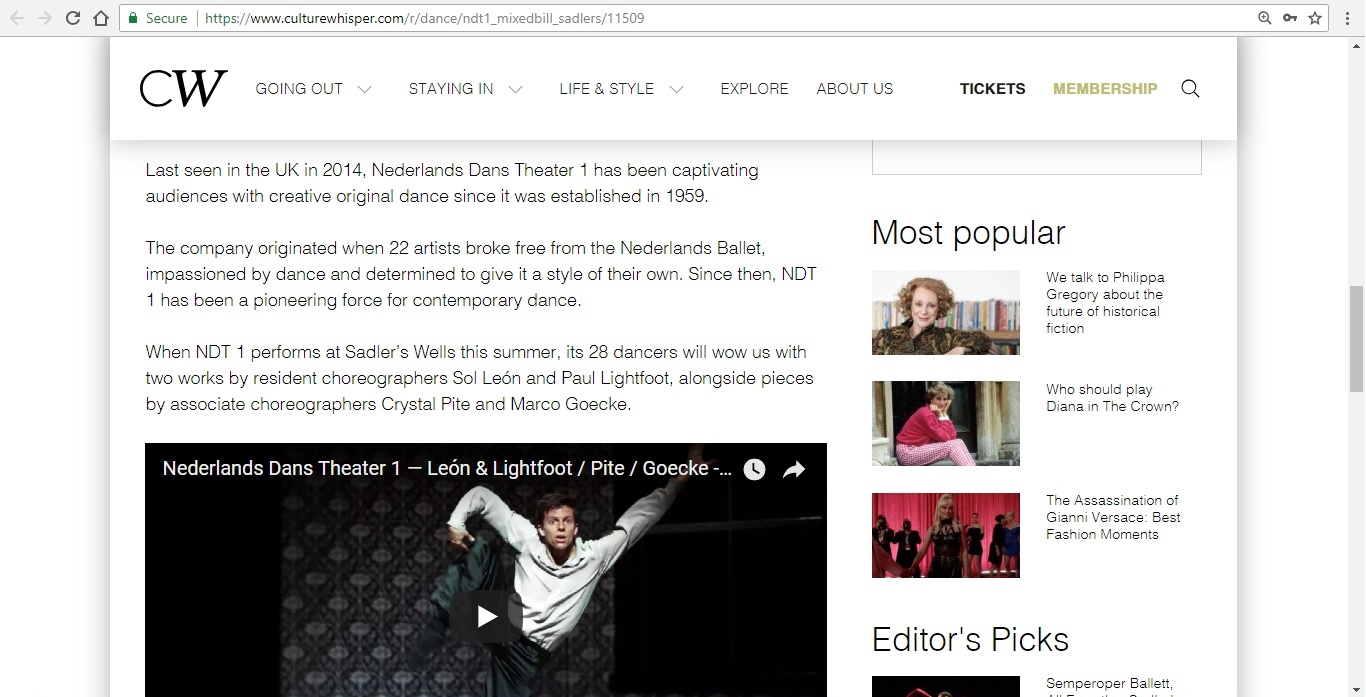Screenshot of Culture Whisper content by Georgina Butler. Preview of Nederlands Dans Theater 1: Mixed Bill, image 3