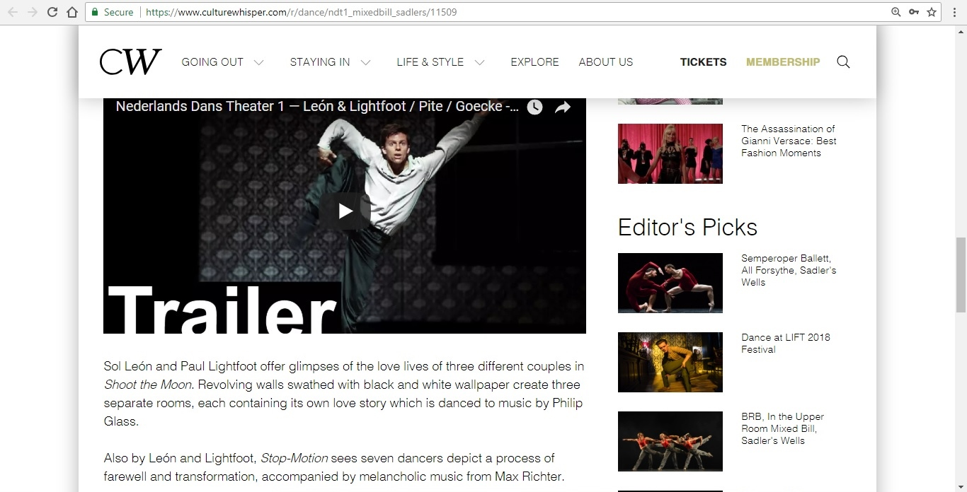 Screenshot of Culture Whisper content by Georgina Butler. Preview of Nederlands Dans Theater 1: Mixed Bill, image 4