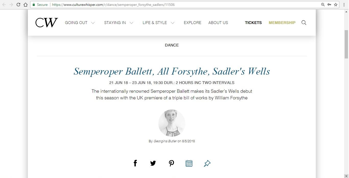 Screenshot of Culture Whisper content by Georgina Butler. Preview of Semperoper Ballett: All Forsythe, image 1
