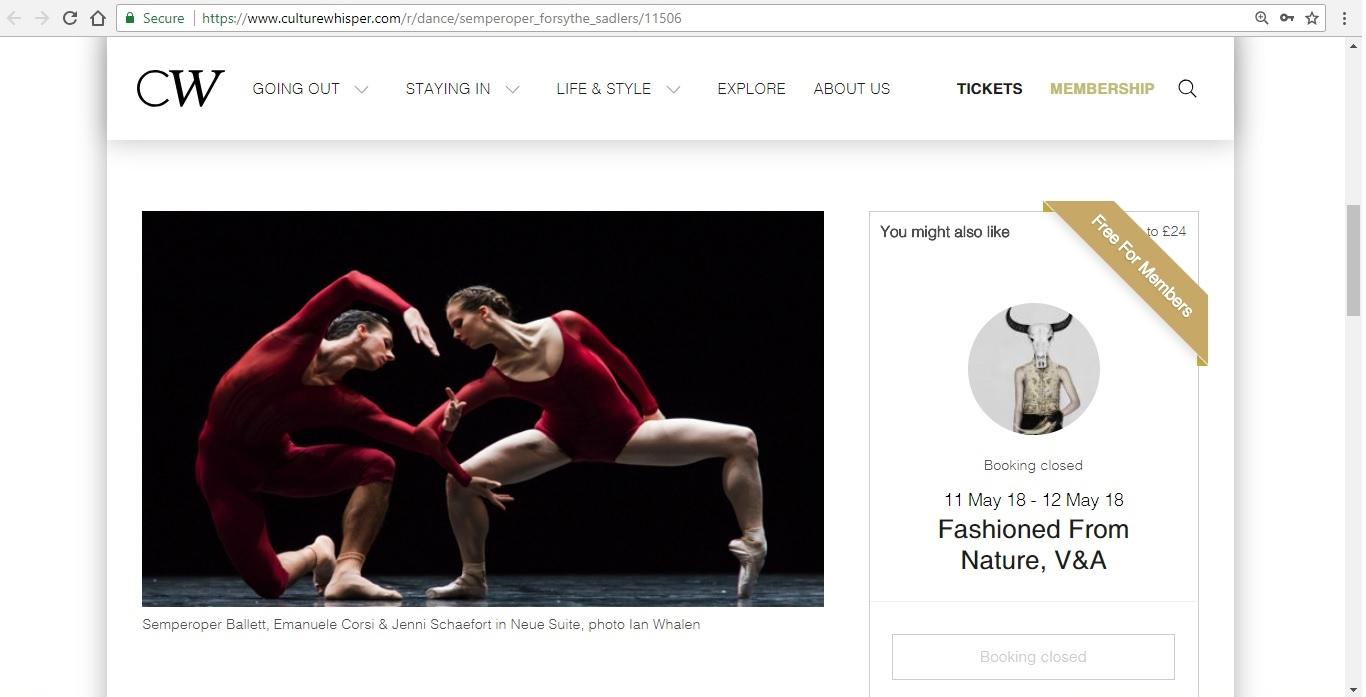 Screenshot of Culture Whisper content by Georgina Butler. Preview of Semperoper Ballett: All Forsythe, image 2