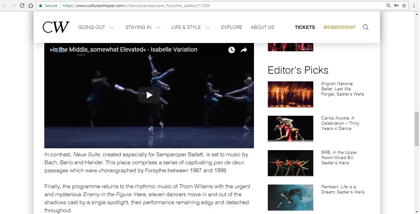 Screenshot of Culture Whisper content by Georgina Butler. Preview of Semperoper Ballett: All Forsythe, image 4
