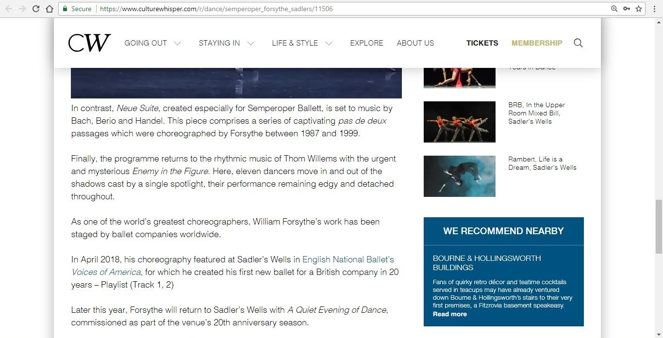Screenshot of Culture Whisper content by Georgina Butler. Preview of Semperoper Ballett: All Forsythe, image 5