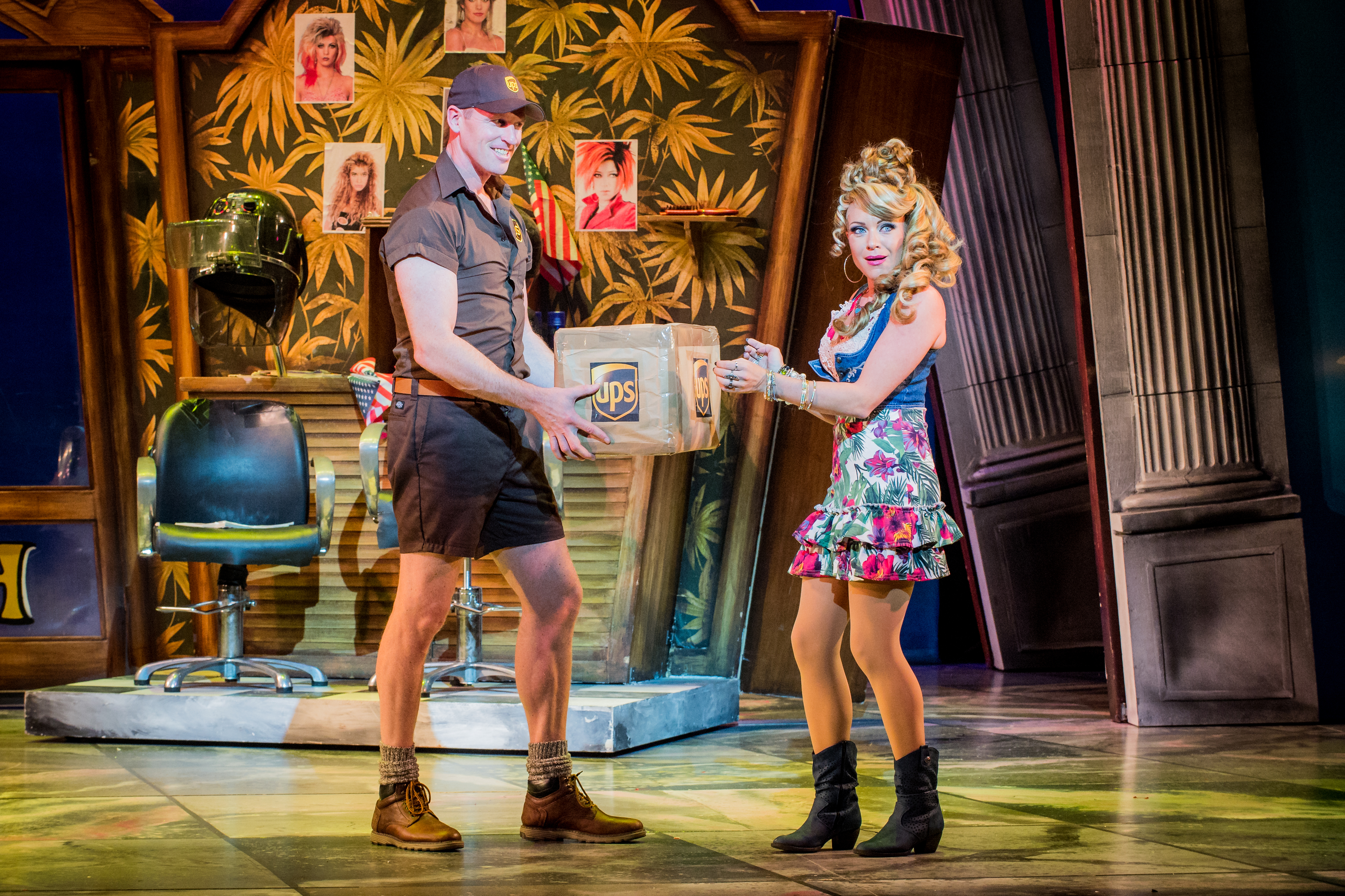 """Legally Blonde the musical. Rita Simons as Paulette Bonafonté, ready to """"bend and snap"""" in front of the delivery driver."""