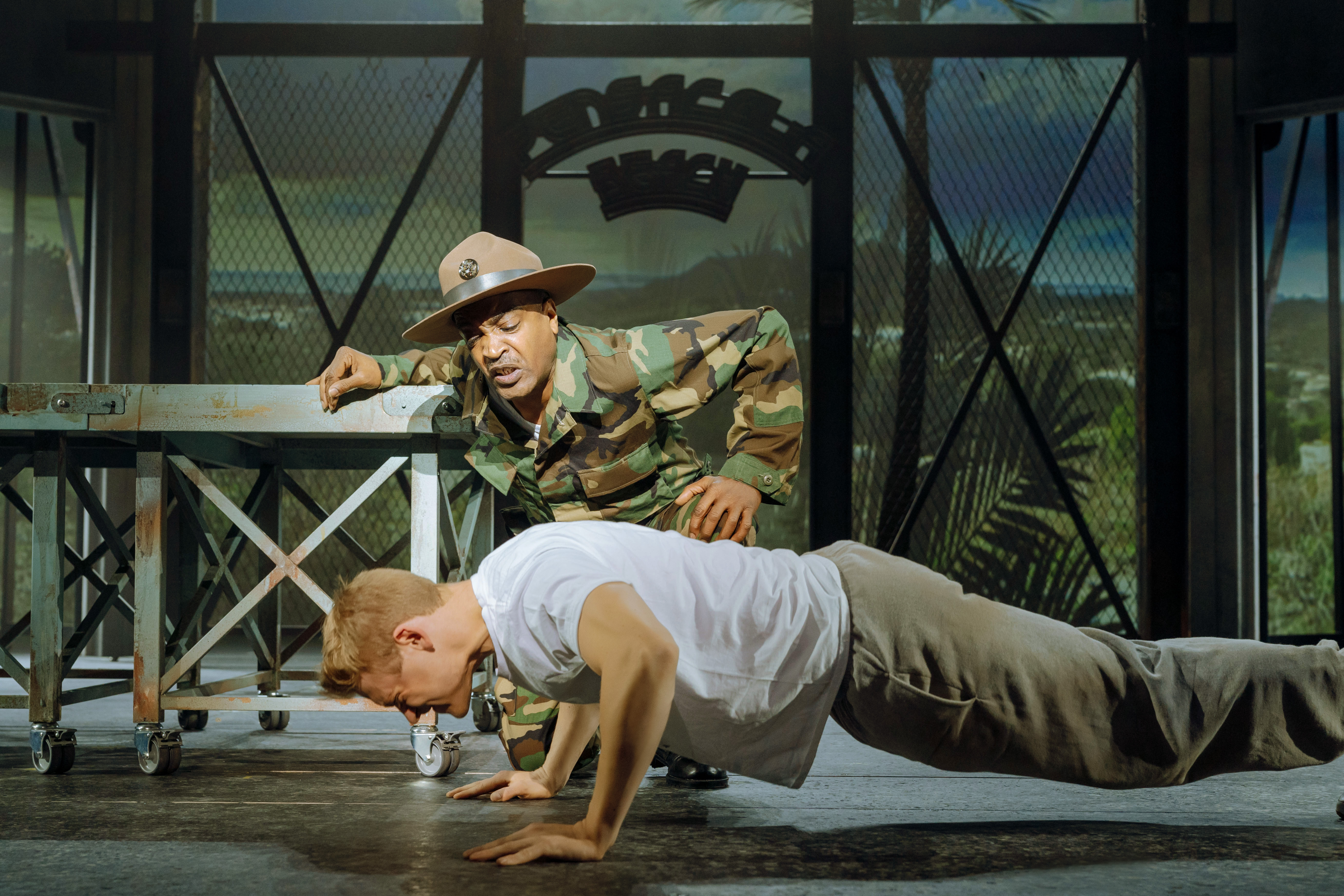 An Officer and a Gentleman. US Navy officer trainee Zack Mayo being put through his paces with press-up drills.