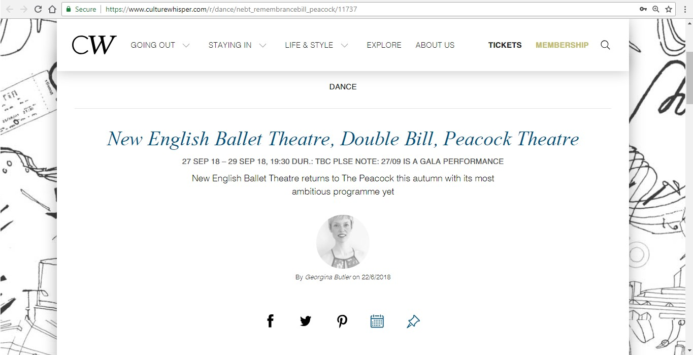 Screenshot of Culture Whisper content by Georgina Butler. Preview of New English Ballet Theatre: Double Bill, image 1