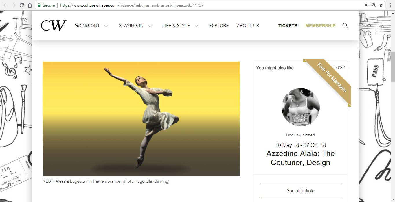 Screenshot of Culture Whisper content by Georgina Butler. Preview of New English Ballet Theatre: Double Bill, image 2