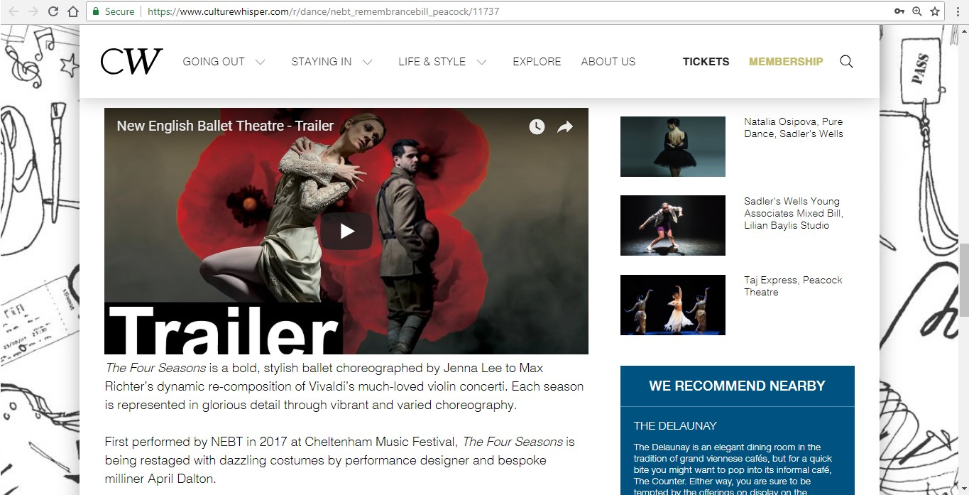 Screenshot of Culture Whisper content by Georgina Butler. Preview of New English Ballet Theatre: Double Bill, image 4