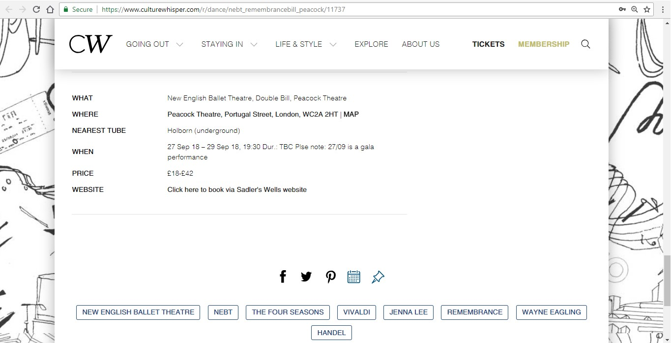 Screenshot of Culture Whisper content by Georgina Butler. Preview of New English Ballet Theatre: Double Bill, image 6