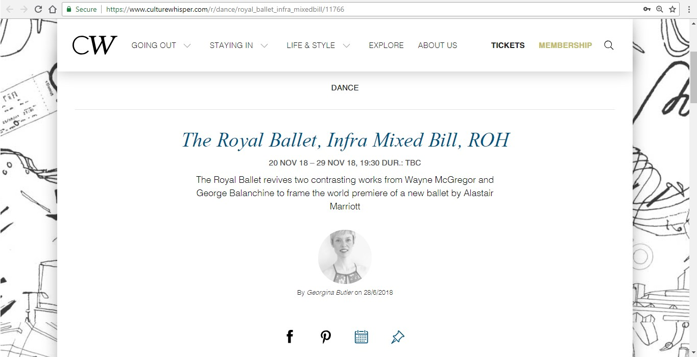 Screenshot of Culture Whisper content by Georgina Butler. Preview of The Royal Ballet: Infra Mixed Bill, image 1