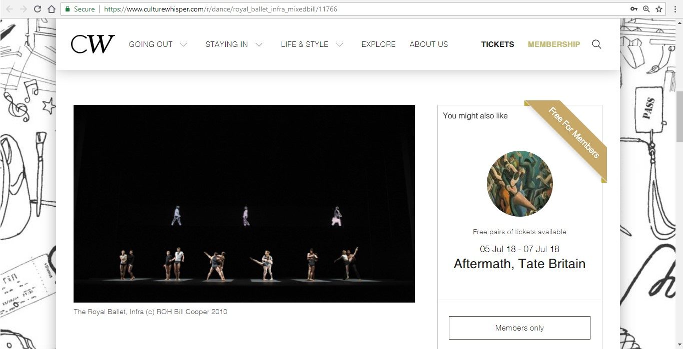 Screenshot of Culture Whisper content by Georgina Butler. Preview of The Royal Ballet: Infra Mixed Bill, image 2