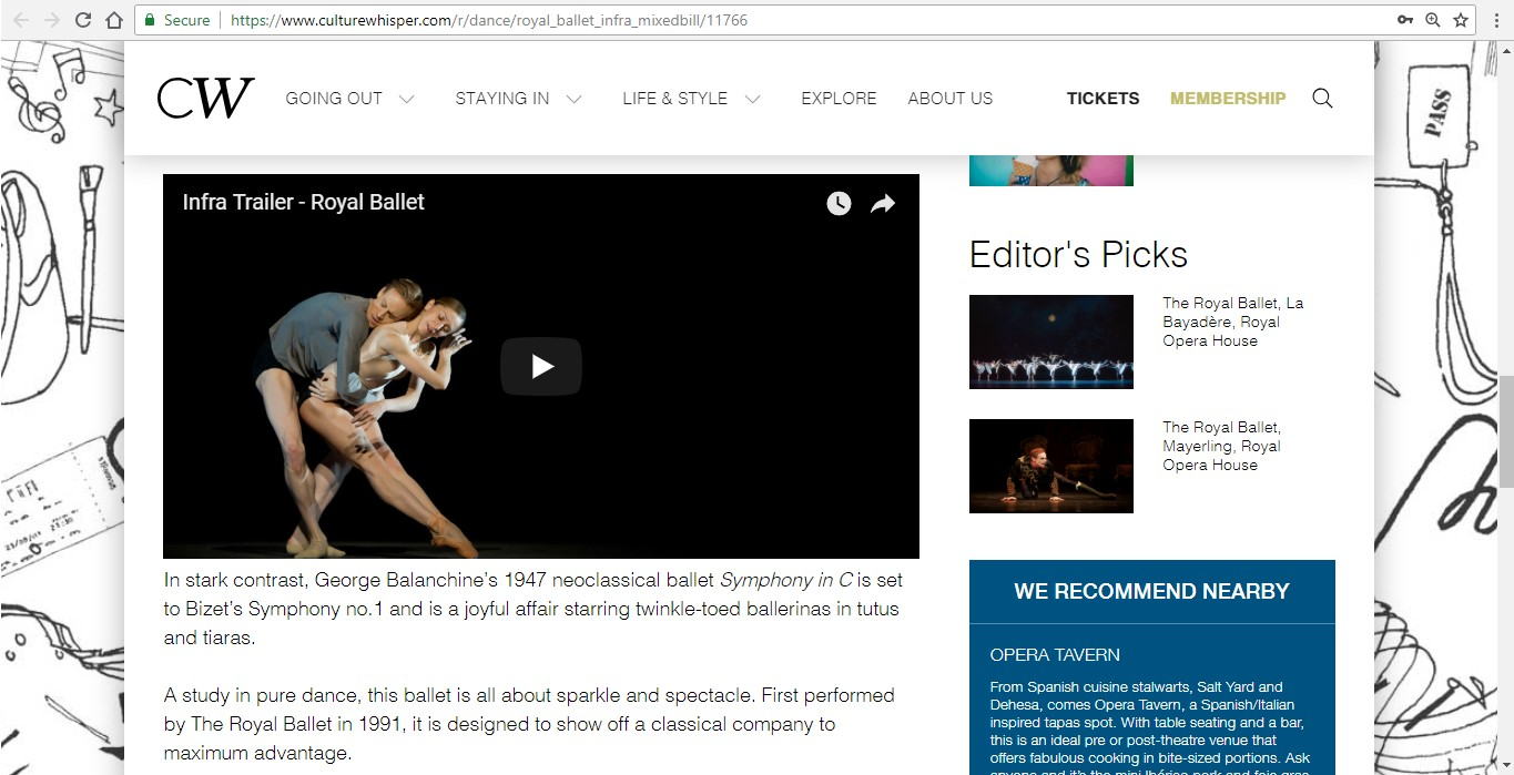 Screenshot of Culture Whisper content by Georgina Butler. Preview of The Royal Ballet: Infra Mixed Bill, image 4