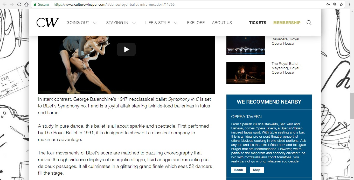 Screenshot of Culture Whisper content by Georgina Butler. Preview of The Royal Ballet: Infra Mixed Bill, image 5