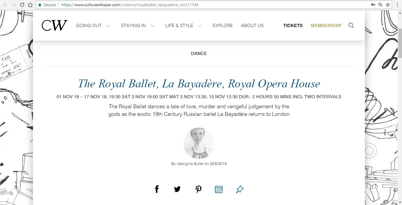 Screenshot of Culture Whisper content by Georgina Butler. Preview of The Royal Ballet: La Bayadère, image 1