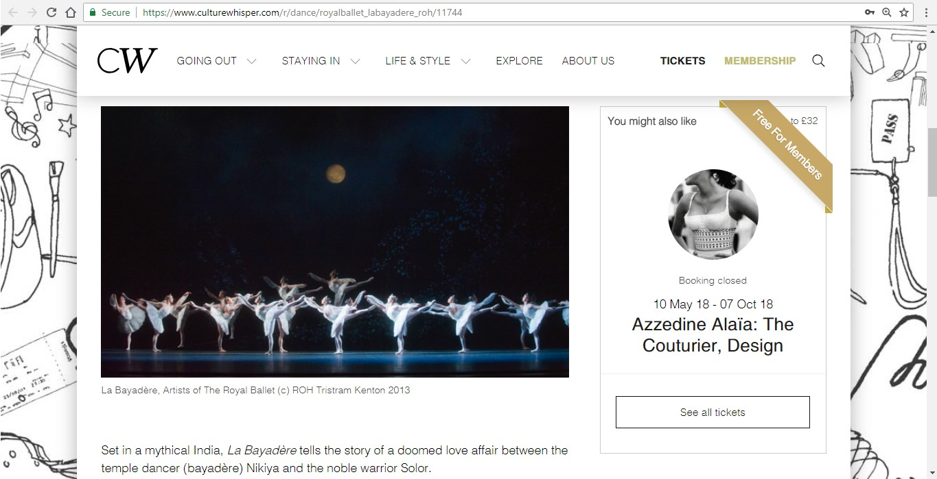 Screenshot of Culture Whisper content by Georgina Butler. Preview of The Royal Ballet: La Bayadère, image 2