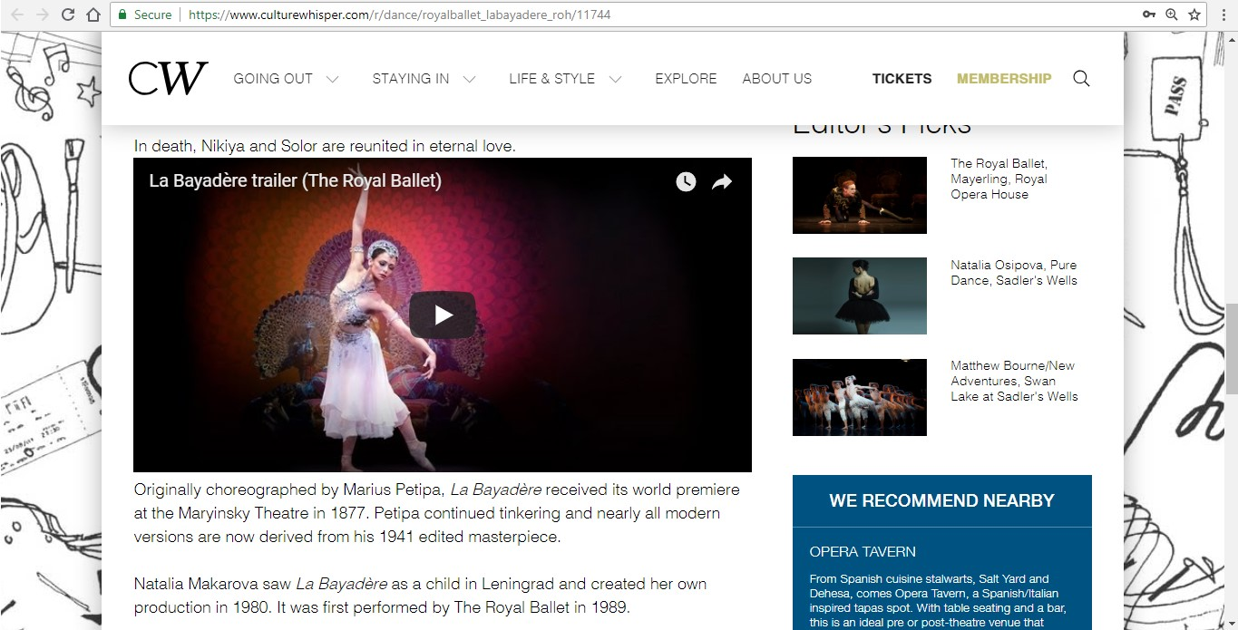 Screenshot of Culture Whisper content by Georgina Butler. Preview of The Royal Ballet: La Bayadère, image 4