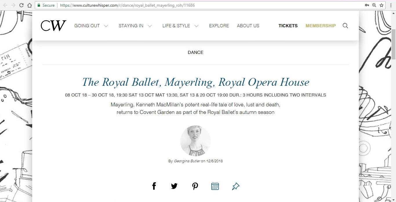 Screenshot of Culture Whisper content by Georgina Butler. Preview of The Royal Ballet: Mayerling, image 1