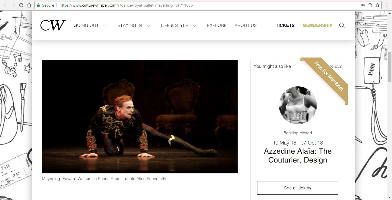 Screenshot of Culture Whisper content by Georgina Butler. Preview of The Royal Ballet: Mayerling, image 2