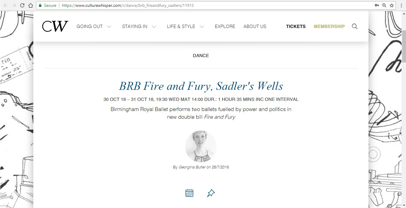 Screenshot of Culture Whisper content by Georgina Butler. Preview of Birmingham Royal Ballet: Fire and Fury, image 1