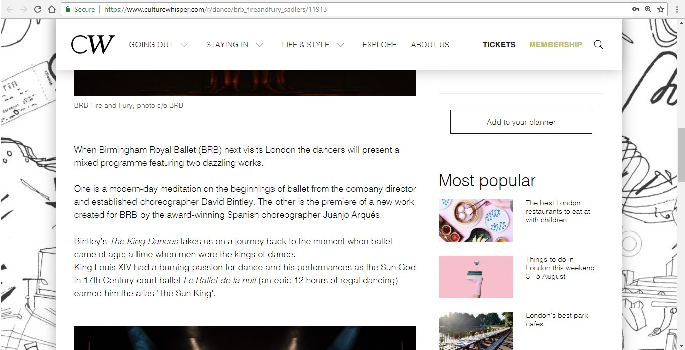 Screenshot of Culture Whisper content by Georgina Butler. Preview of Birmingham Royal Ballet: Fire and Fury, image 3