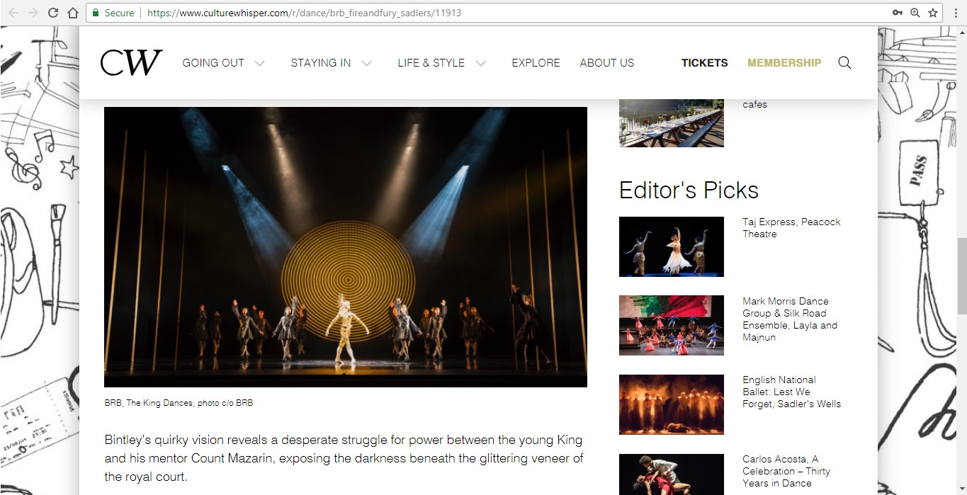 Screenshot of Culture Whisper content by Georgina Butler. Preview of Birmingham Royal Ballet: Fire and Fury, image 4