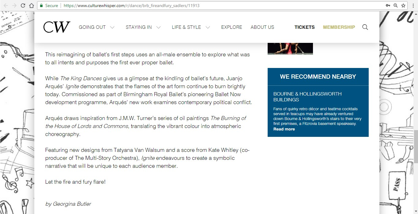Screenshot of Culture Whisper content by Georgina Butler. Preview of Birmingham Royal Ballet: Fire and Fury, image 5