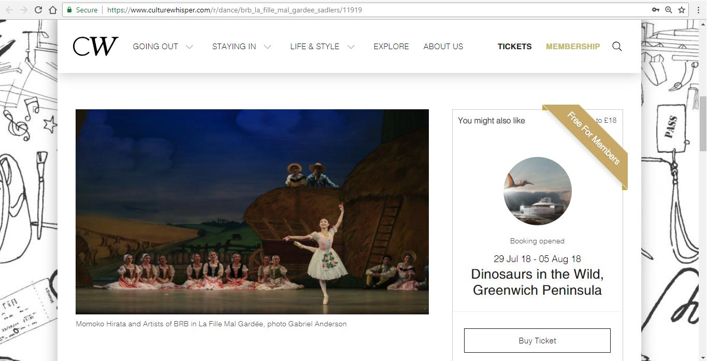 Screenshot of Culture Whisper content by Georgina Butler. Preview of Birmingham Royal Ballet: La Fille Mal Gardée, image 2