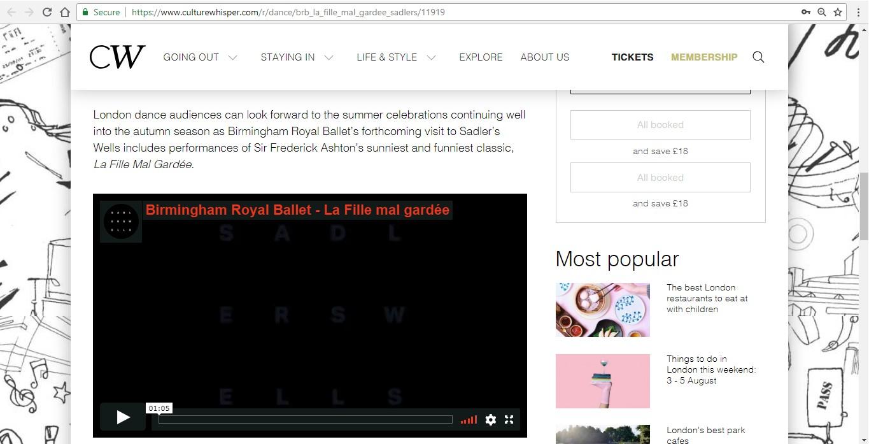 Screenshot of Culture Whisper content by Georgina Butler. Preview of Birmingham Royal Ballet: La Fille Mal Gardée, image 3