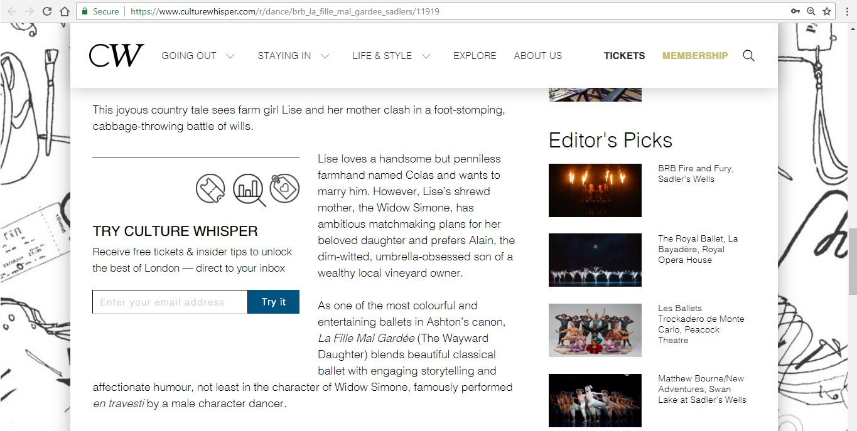 Screenshot of Culture Whisper content by Georgina Butler. Preview of Birmingham Royal Ballet: La Fille Mal Gardée, image 4