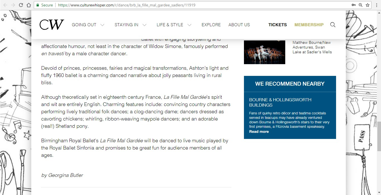 Screenshot of Culture Whisper content by Georgina Butler. Preview of Birmingham Royal Ballet: La Fille Mal Gardée, image 5