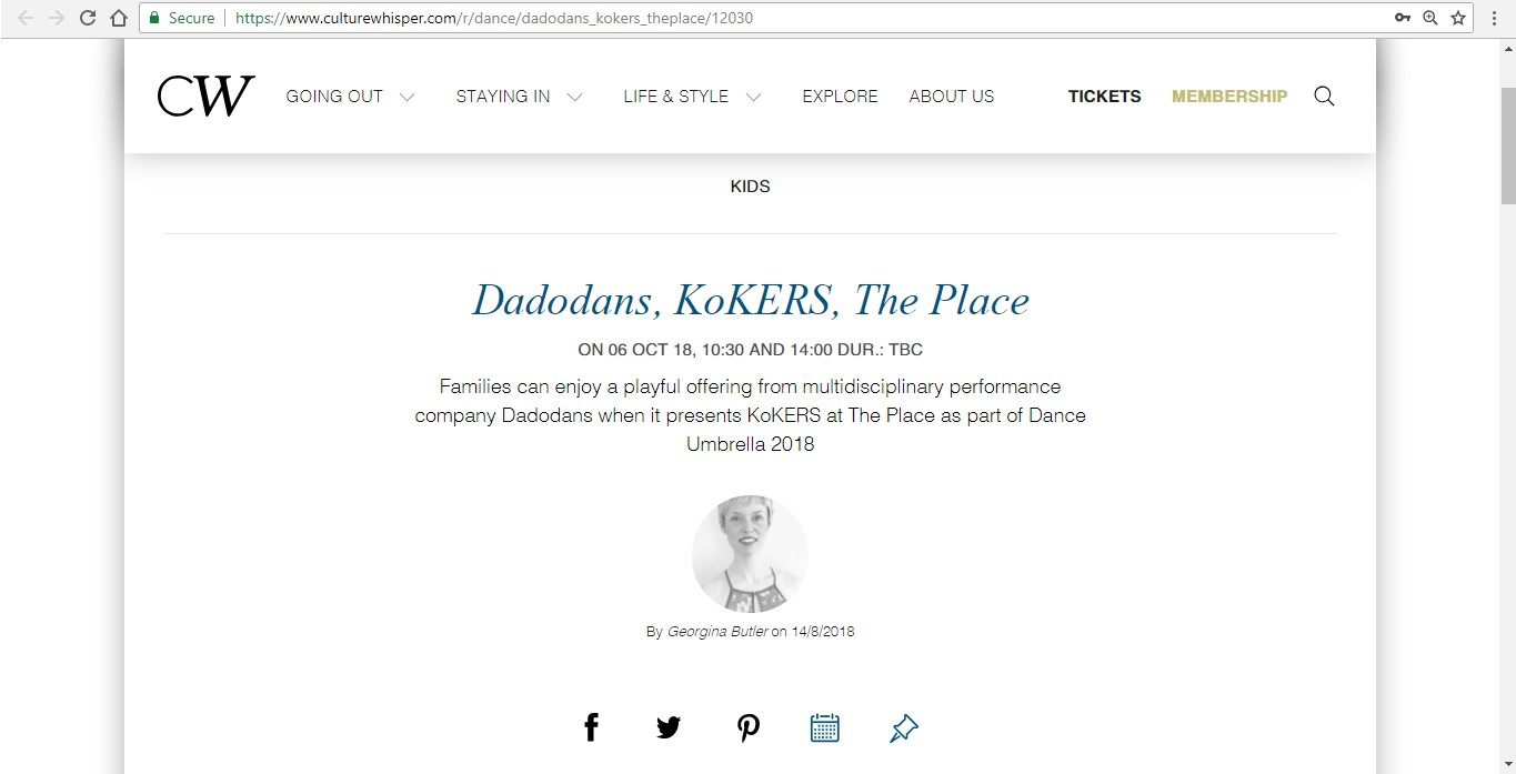 Screenshot of Culture Whisper content by Georgina Butler. Preview of Dadodans: KoKERS, image 1
