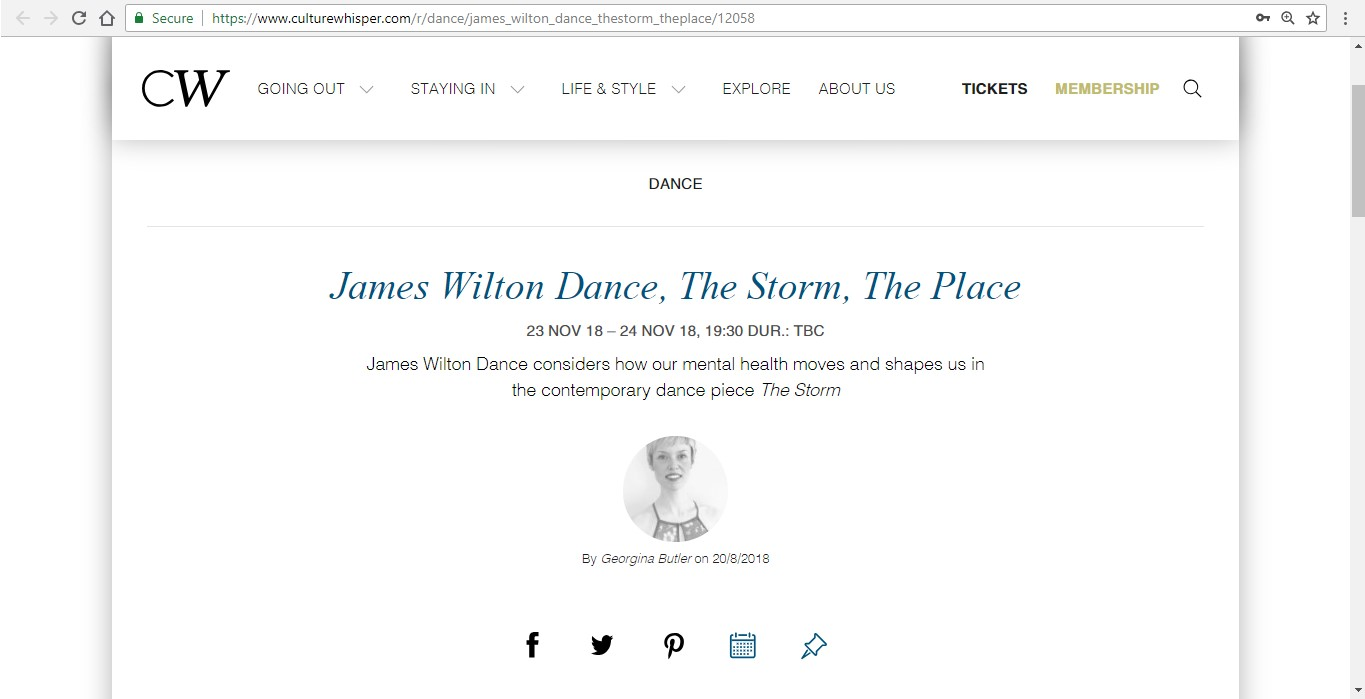 Screenshot of Culture Whisper content by Georgina Butler. Preview of James Wilton Dance: The Storm, image 1