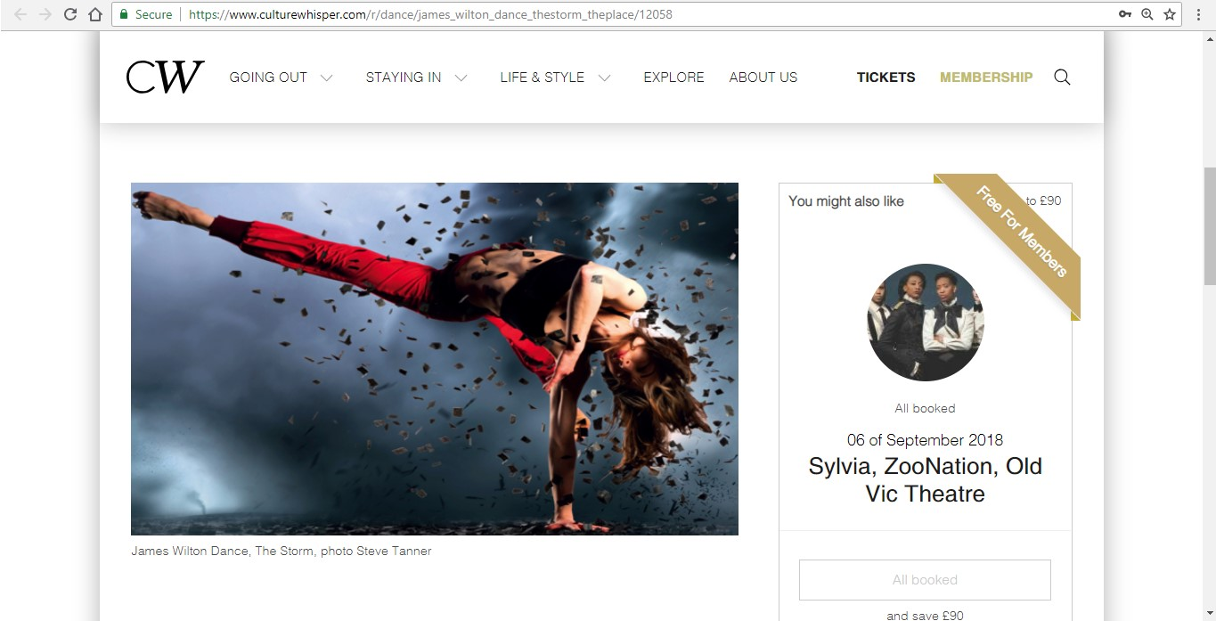 Screenshot of Culture Whisper content by Georgina Butler. Preview of James Wilton Dance: The Storm, image 2