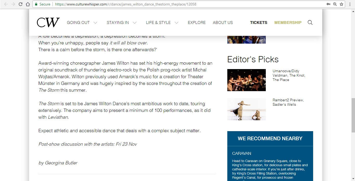 Screenshot of Culture Whisper content by Georgina Butler. Preview of James Wilton Dance: The Storm, image 4